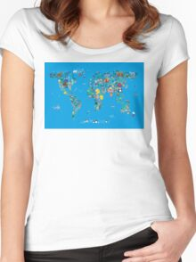 Animal Map of the World for children and kids Women's Fitted Scoop T-Shirt