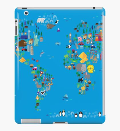 Animal Map of the World for children and kids iPad Case/Skin