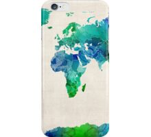 Watercolor Map of the World Map iPhone Case/Skin