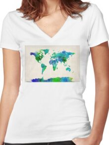 Watercolor Map of the World Map Women's Fitted V-Neck T-Shirt