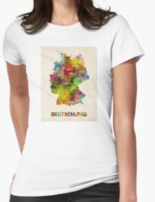 Germany Watercolor Map (Deutschland) Womens Fitted T-Shirt