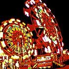 Two Ferris Wheels at Night by Bob Fox