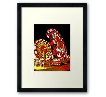 Two Ferris Wheels at Night Framed Print