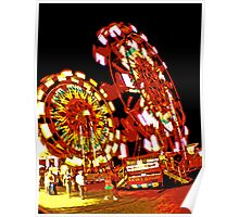 Two Ferris Wheels at Night Poster