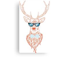 Deer hipster in glasses, hand drawn style Canvas Print