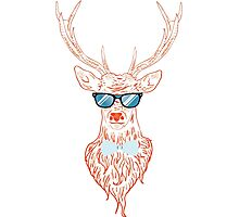Deer hipster in glasses, hand drawn style Photographic Print