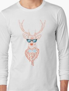 Deer hipster in glasses, hand drawn style Long Sleeve T-Shirt
