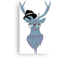 Deer hipster in glasses, hand drawn style 3 Canvas Print