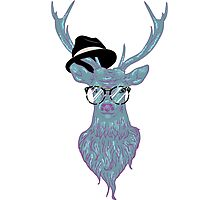 Deer hipster in glasses, hand drawn style 3 Photographic Print