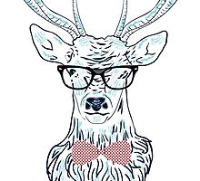 Deer hipster in glasses, hand drawn style 4 by AnnArtshock