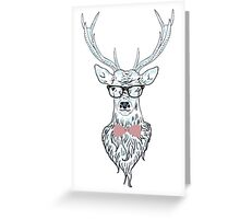 Deer hipster in glasses, hand drawn style 4 Greeting Card