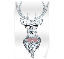 Deer hipster in glasses, hand drawn style 4 Poster