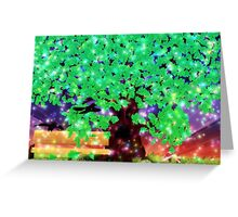 Fantasy oak tree with ravens Greeting Card