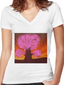 Fantasy tree of pink color Women's Fitted V-Neck T-Shirt