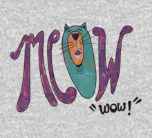 Meow Wow! Fancy Cat Hand Lettering Kids Clothes