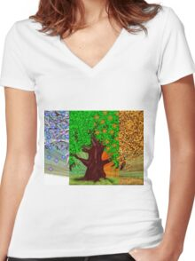 Big tree, winter and summer seasons Women's Fitted V-Neck T-Shirt