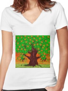 Fantasy tree at spring Women's Fitted V-Neck T-Shirt
