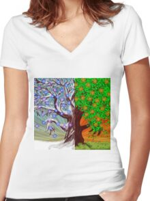 Big tree winter and summer seasons Women's Fitted V-Neck T-Shirt