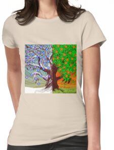 Big tree winter and summer seasons Womens Fitted T-Shirt
