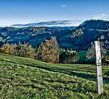 Fence and countryside by Kurt  Tutschek