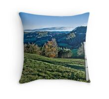 Fence and countryside Throw Pillow