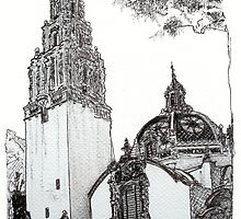 The California Bell Tower and Museum of Man Building - San Diego by RDRiccoboni