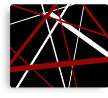 Red and White Stripes on A Black Background Canvas Print