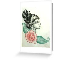 Illustration no.1 Gypsy Head with Rose Greeting Card