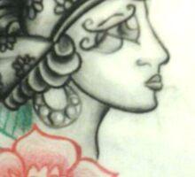 Illustration no.1 Gypsy Head with Rose Sticker