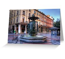 Golden Fountain Square Greeting Card