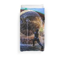 Fountain at the Bus Station Duvet Cover