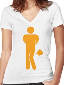 Funny Farting Restrooms / Toilet Sign Women's Fitted V-Neck T-Shirt