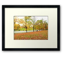 Glowing road in Autumn colors Framed Print