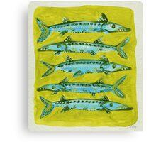 Barracuda on Yellow Canvas Print