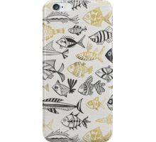 Grey & Gold Inked Fish iPhone Case/Skin