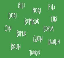 The names of the dwarves from The Hobbit Kids Clothes