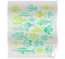 Green Inked Fish Poster