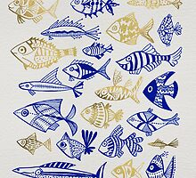 Gold & Navy Inked Fish by Cat Coquillette