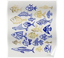 Gold & Navy Inked Fish Poster