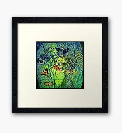 Girl in a Forest 2- Woodcut Print Framed Print