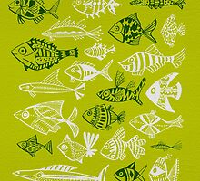 Inked Fish on Lime Green by Cat Coquillette