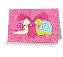 Cute Valentine's love bug snails Greeting Card