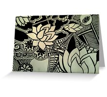 Abstract Architecture and Lotus Blossoming  Greeting Card