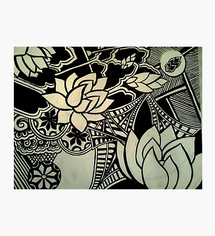 Abstract Architecture and Lotus Blossoming  Photographic Print