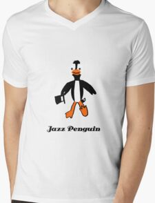 Jazz Penguin Mens V-Neck T-Shirt