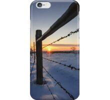 Snowy Sunrise against Barbed Wire iPhone Case/Skin