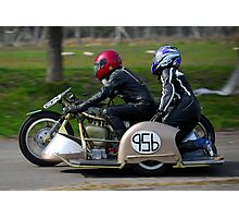 sidecar motorbike timetrial at margam park red bubble meet port talbot Photographic Print