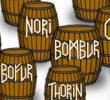 Dwarves in barrels from The Hobbit Sticker