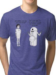 Fembot meets Urinal Bot ! Tri-blend T-Shirt