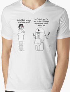 Fembot meets Urinal Bot ! Mens V-Neck T-Shirt